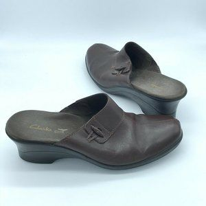 Clarks Collection Brown Leather Mules Shoes 8.5M